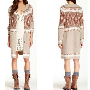 Free People Frosted Fair lsle Long Knit Cardigan